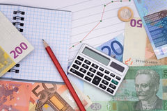 Money European currency calculator growth curve exchange Royalty Free Stock Photos