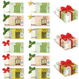 Money and euros. Bills 50, 100 and 200 euros, in different forms Royalty Free Illustration