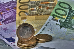 Money Euros. (EUR) with coins infront Stock Photos