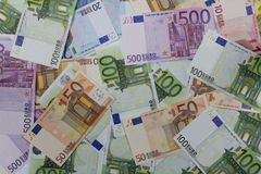 Money Euros (EUR) notes. Money Euros EUR. Different bills Stock Photos