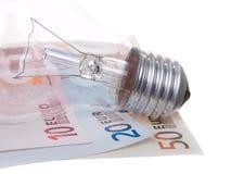 Money Euros With Lamp Royalty Free Stock Photos
