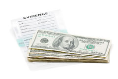 Money evidence. Stack of dollar bills on evidence bag Stock Photo