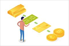 Money evolution isometric concept. From barter to cryptocurrency vector illustration