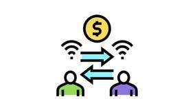 money exchange among bank users color icon animation