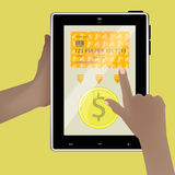 Money exchange concept. Smart tablet Royalty Free Stock Photo