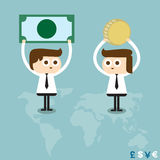 Money exchange. Concept, world map background Stock Images