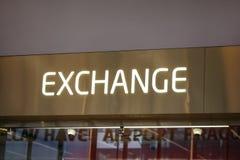 Money Exchange desk at departure hall Vaclav Havel Airport, Pra stock photography