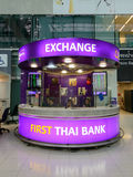 Money exchange desk at Suvanaphumi Airport. BANGKOK - JUNE 21 : money exchange desk at Suvanaphumi Airport, Bangkok on JUNE 21, 2014, Suvarnabhumi airport is Royalty Free Stock Photos