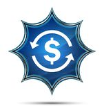 Money exchange dollar sign icon magical glassy sunburst blue button vector illustration