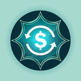 Money exchange dollar sign icon magical glassy sunburst blue button sky blue background vector illustration