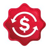 Money exchange dollar sign icon misty rose red starburst sticker button. Money exchange dollar sign icon isolated on misty rose red starburst sticker button royalty free illustration