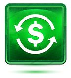 Money exchange dollar sign icon neon light green square button royalty free illustration