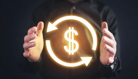 Money exchange with dollar symbol. Financial concept stock photography