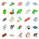Money exchange icons set, isometric style. Money exchange icons set. Isometric set of 25 money exchange vector icons for web isolated on white background Stock Image