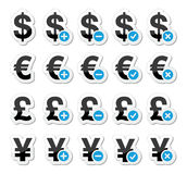 Currency icons set - dollar, euro, yen, pound Stock Photography