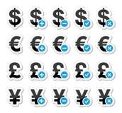 Currency icons set - dollar, euro, yen, pound Stock Photography