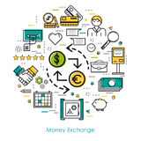 Money exchange - Round Line Concept. Vector round concept of Money exchange or accounting service in thin line style. Banknote and coins, businessman, device and Royalty Free Stock Image