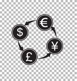 Money exchange transparent. money convert sign. Flat style. money symbol royalty free illustration