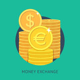 Money exchange. Vector illustration of money exchange in modern flat style. Currency exchange icon stock illustration