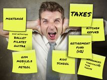 Money expenses notes and businessman and family man screaming desperate and overwhelmed stressed by financial debt and monthly pay. Ments in domestic finance stock images