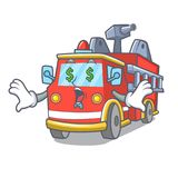 Money eye fire truck mascot cartoon. Vector illustration Royalty Free Stock Photos