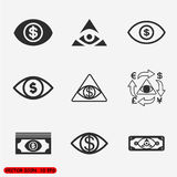 Money eye Icons set Stock Image