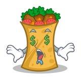 Money eye kebab wrap character cartoon. Vector illustration vector illustration