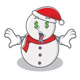 Money eye snowman character cartoon style Stock Photos