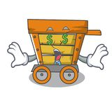 Money eye wooden trolley mascot cartoon. Vector illustration stock illustration