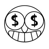 Money eyes. An illustration of a man with dollar sign in his eyes Stock Photos