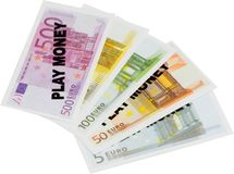 Money - fake. Euro bills meant for play , not real money royalty free stock photography