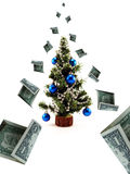 Money fall. On the christmas tree Stock Photography