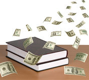 Money falling on books Royalty Free Stock Images