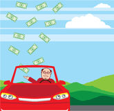 Money Falling in the Car Vector Royalty Free Stock Image