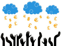 Money falling from the Heaven in the human hands royalty free illustration