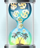 Money falling through the hourglass in on offshore island. Royalty Free Stock Image