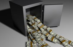 Money falling out of a Safe Royalty Free Stock Images