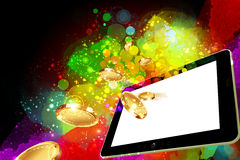 Money falling out of the tablet pc screen Royalty Free Stock Image