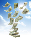Money falling from sky Stock Images