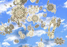Money Falling From the Sky. Conceptual 3D illustration of snowflakes made from hundred dollar bills falling from the sky Easy money Lottery prize concept stock illustration
