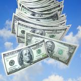 Money falling from sky royalty free stock photo