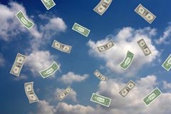 Money falling from the sky Stock Photos