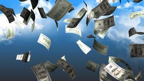 Money falling from sky concept animation. stock footage