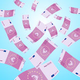 Money falling from sky. 500 Euro banknotes falling. Vector Illustration Royalty Free Stock Photos