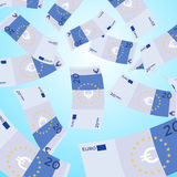 Money falling from sky. 20 Euro banknotes falling. Stock Photos