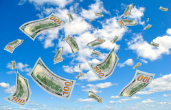 Money falling from the sky. Royalty Free Stock Photos