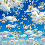Money falling from the sky. Royalty Free Stock Photography