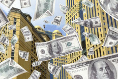 Money Falling from the top of a building. Bills, Earn money, Making money Royalty Free Stock Image