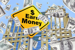 Money falling from the top of a building. Bills, With earn money yellow sign, Making money Stock Images