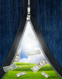 Money falling from unzipped zipper Royalty Free Stock Photos